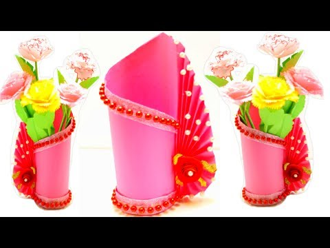 DIY Paper Flower Vase |  Paper Flower Vase Tutorial Craft Ideas Easy |  EMMA DIY #79