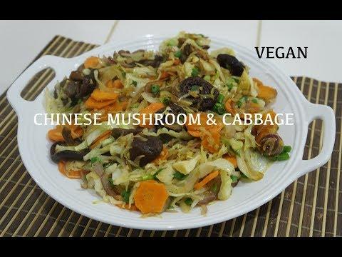 Chinese Vegan Veg - Mushroom & Cabbage with Ginger Recipe