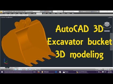 JCB Excavator bucket AutoCAD 3D modeling tutorial   AutoCAD 3D Modeling 1