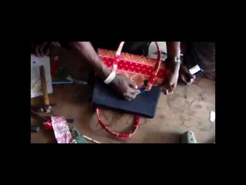 African print and jeans Ankara Bag Making