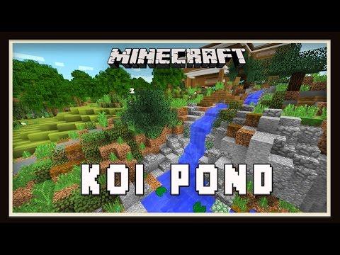 Minecraft: Koi Pond Garden Landscaping Design  (Modern House Tutorial  Ep. 26)