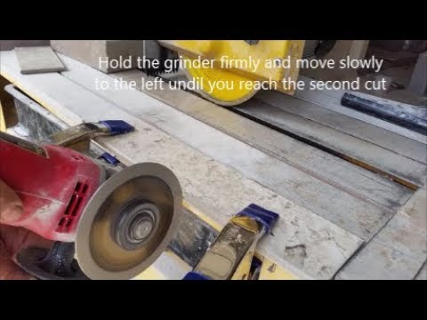 How To Cut A Small Rectangle On A Side  Porcelain or Ceramic Tile - Using Angle Grinder