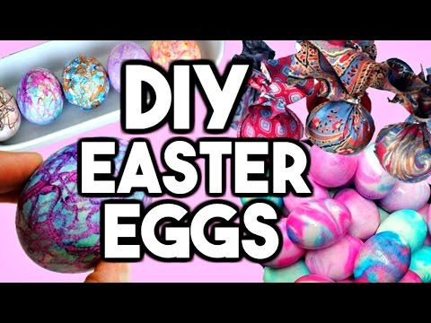 DIY EASTER EGG DESIGNS! DIY Shaving Foam Eggs, DIY Silk Tie Eggs, DIY Crayon Eggs