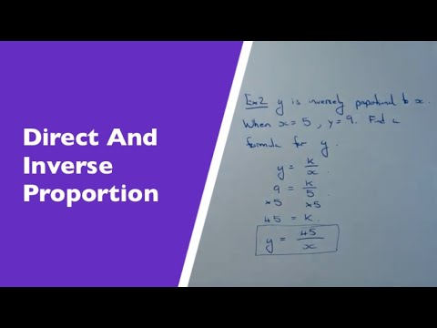 How To Write Down Formulas For Direct And Inverse Proportion.