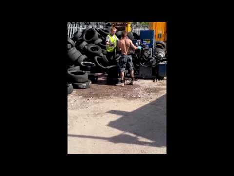 Car tyre cutting