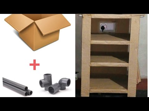 DIY- home decoration idea. how to make a tv desk using pvc pipe and cardboard.