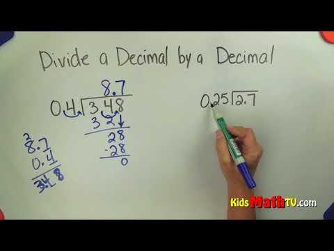 Dividing decimals by decimal values math video tutorial
