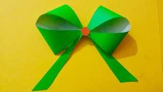How to make Paper bow for gift box wrapping | Paper flower bow making ideas | Paper ribbon