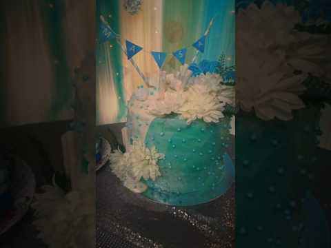 Tiffany colour cake-Aqua themed cake-white chocolate drip cake- Birthday cake