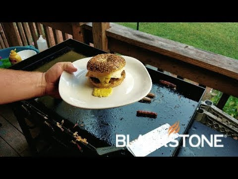 Ultimate Breakfast Sandwich on an Everything Bagel Cooked on the Blackstone Griddle
