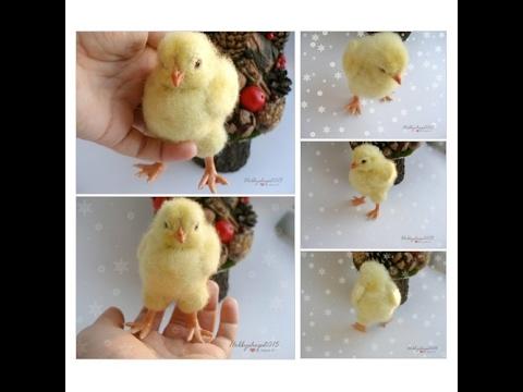 Baby chicken Needle felted Bird OOAK  Felted toy  Fiber cute