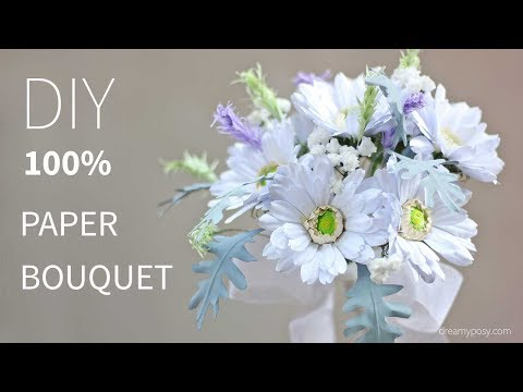 DIY bridal bouquet of Gerbera Daisy from printer paper, FREE template, SO SIMPLE