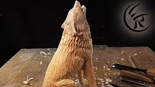 """Woodcarving """"Howling Wolf"""" ►► Timelapse"""