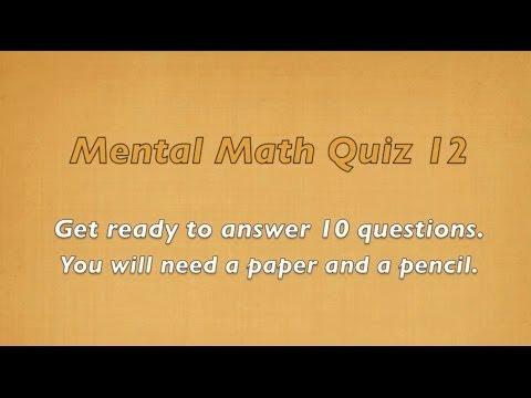Mental Math Quiz 12 - Grades 2 and 3 Math - Numeracy Skills - Math Activities