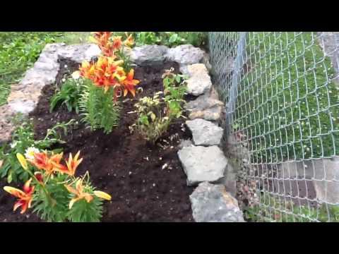 Raised rock flower bed