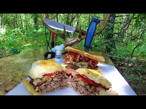 Cast Campfire Cooking Bacon Burgers - Overnighter In The Woods