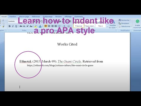 How to indent the second line of a citation in Word (work cited) for APA
