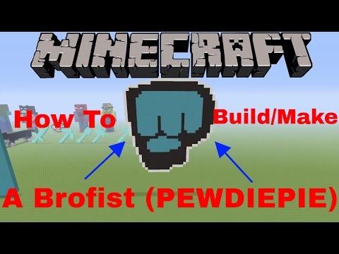Minecraft - How To Build/Make A Brofist (PEWDIEPIE'S Logo/Avatar) - (FAST)