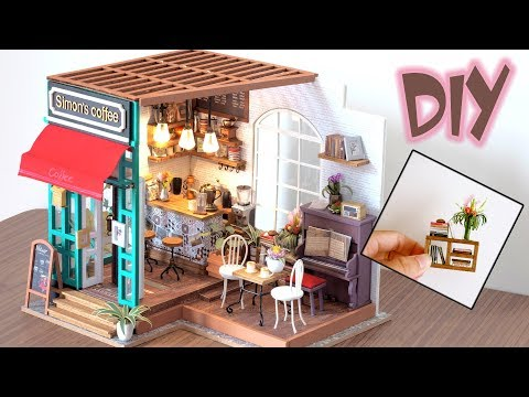 DIY Miniature Dollhouse Kit || The Coffee House ( With Furniture & Light )