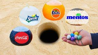 Coca Cola, Fanta, Sprite in Balloons vs Mentos