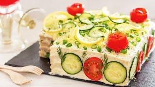 Savory Tuna Sandwich Cake Recipe (Smörgåstårta) | HappyFoods