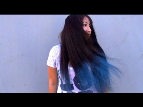 How to: Dip Dyed Ombre Blue Hair Chalking tutorial Temporary Color black hair No Bleach