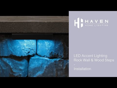 Haven Home Lighting - LED Accent Lighting Installation - Rock Wall & Wood Steps