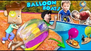 BUBBLE ROLL + INFLATABLE BALLOON BOATS! (FUNnel Vision Sumo Wrestling Bumper Fail)