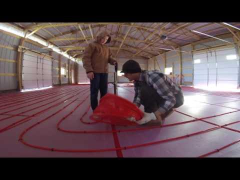 Pole Shed - Installing raditant floor heat PEX tubing loops