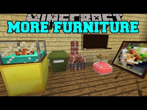 Minecraft: MORE FURNITURE! (AQUARIUM, GARBAGE CAN, OFFICE CHAIR, & MORE) Mod Showcase