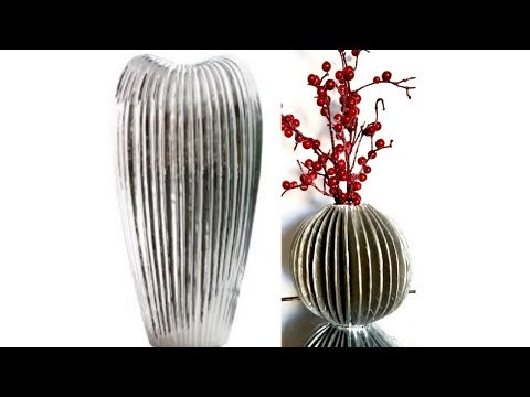 Diy Home Decorative Vases Using Recycled Paper Towel Holder and Cardboard.