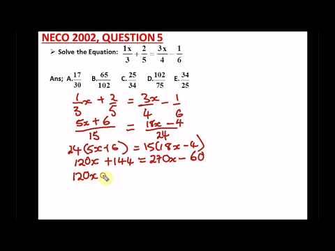 WAEC | NECO Past Questions on Simple Linear Equations