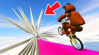 ULTIMATE WITHERED ANIMATRONICS BMX DEATHRUN! (GTA 5 Mods For Kids FNAF Funny Moments)