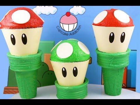 Super Mario Cupcakes! Make a Mario Mushroom Cup Cake! A Cupcake Addiction How To Tutorial