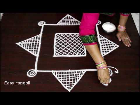 latest padi kolam designs with 5 dots for beginners * simple rangoli * how to draw geethala muggulu