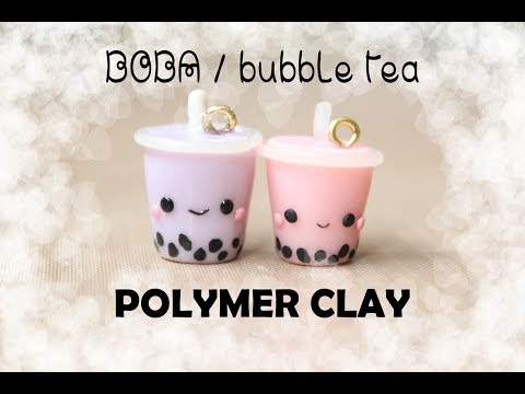 Boba / Bubble Tea Polymer Clay Charm Tutorial | sweetco0kiepie