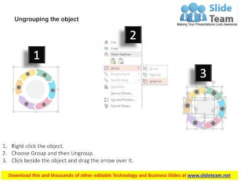 six staged circular process for data flow flat powerpoint design