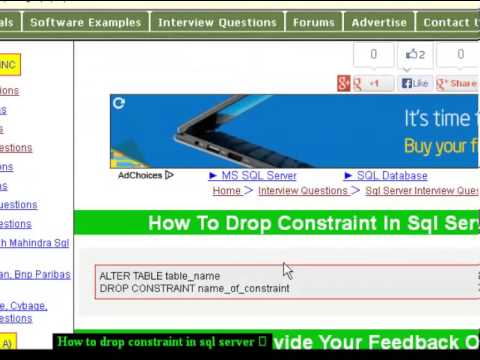 How to drop constraint in sql server