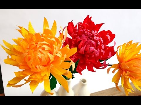 How to make Easy Paper flowers Chrysanthemum / Mums (flower # 97)