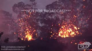 5-17-2018 Kapoho, Hi dramatic lava flow kilauea volcano eruptupion close, blue fire, big splatter 4k