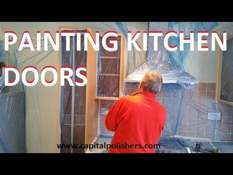 Painting kitchen doors in Dulux Jasmine White, resurfacing kitchen cabinets
