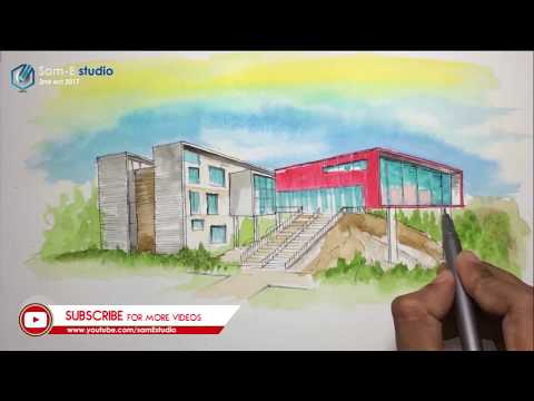 2 point perspective drawing with water color