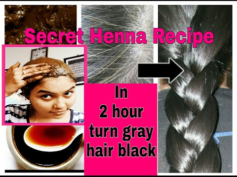 In 2 Hour turn gray/white hair brown-black | 100% natural |secret Henna recipe