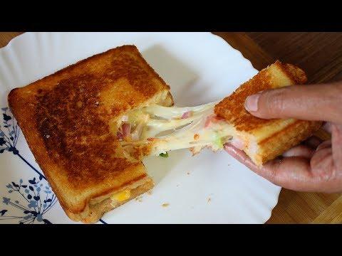 Bread Pizza Sandwich on Tawa Recipe | 2 minute cheese recipe