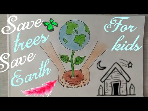 How To Draw SAVE TREES Drawing Tutorial || Don't Cut TREES ||Save EARTH Drawing|Art & Photography|