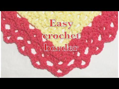 Easy crochet fan stitch border for baby blankets #99