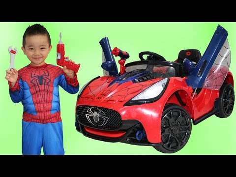 Unboxing New Spiderman Battery-Powered Ride On Super Car 6V Test Drive Park Playtime Fun Ckn Toys