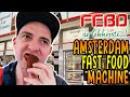 FEBO Amsterdam fast food machine review, dutch battered snack taste test Netherlands