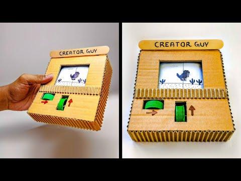 How To Make Google T-Rex Runner Game From Cardboard || DIY Cardboard Gameboy