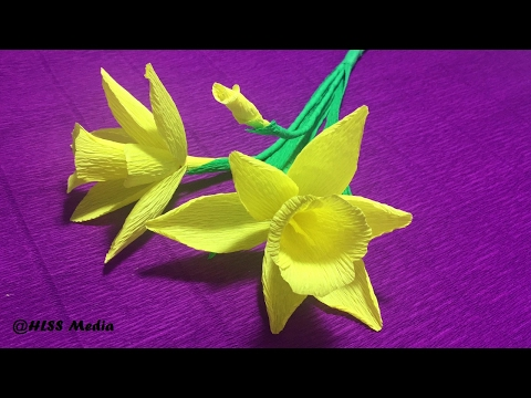 How to make beautiful daffodils Origami paper flower easy/ DIY crepe Paper Flower Step by step